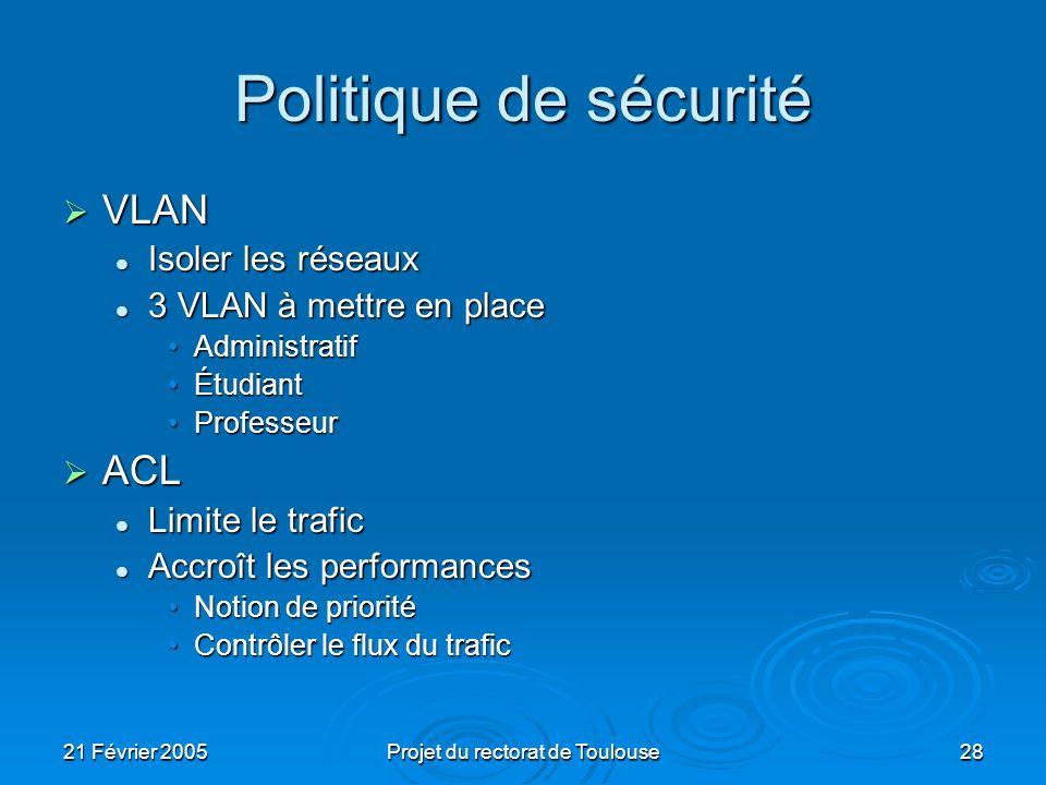21 Février 2005Projet du rectorat de Toulouse28 Politique de sécurité VLAN VLAN Isoler les réseaux Isoler les réseaux 3 VLAN à mettre en place 3 VLAN