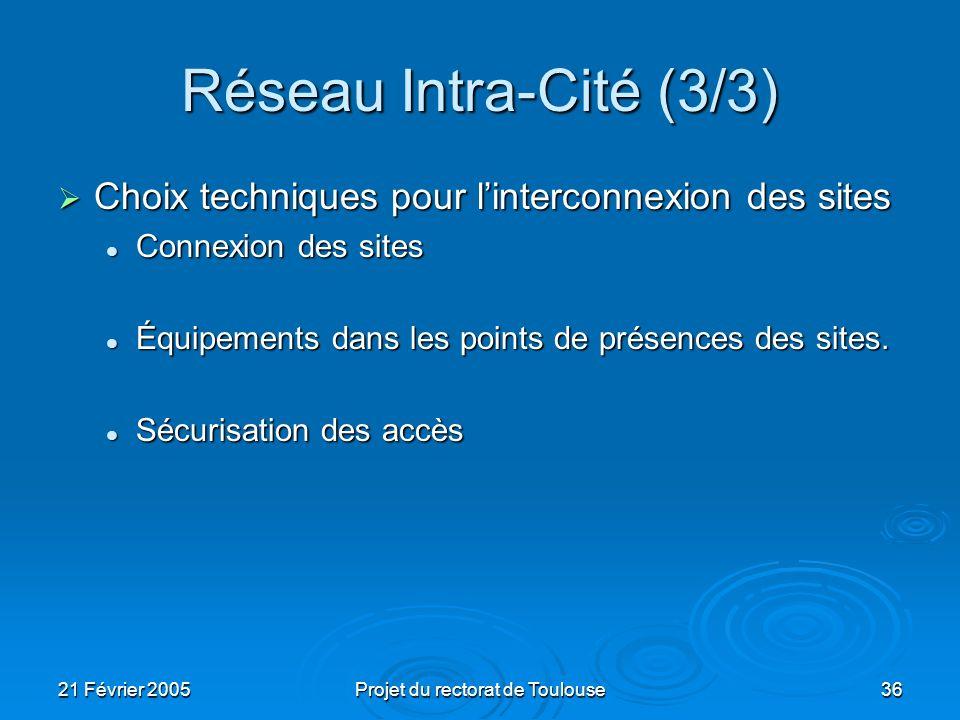 21 Février 2005Projet du rectorat de Toulouse36 Réseau Intra-Cité (3/3) Choix techniques pour linterconnexion des sites Choix techniques pour linterco