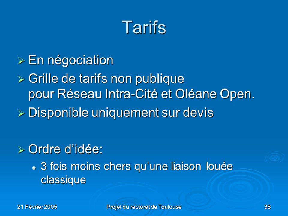 21 Février 2005Projet du rectorat de Toulouse38 Tarifs En négociation En négociation Grille de tarifs non publique pour Réseau Intra-Cité et Oléane Op