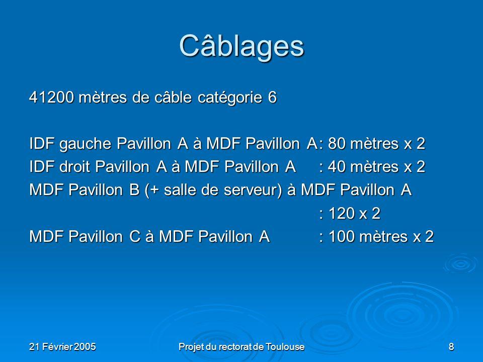 21 Février 2005Projet du rectorat de Toulouse9 Connectique Pavillon A: 38 salles x 27 prises = 1026 Pavillon B:5 x 27 = 132 10 prises téléphonies + réseau pour ladministration Pavillon C: 2 x 27 = 54 Total: 1125