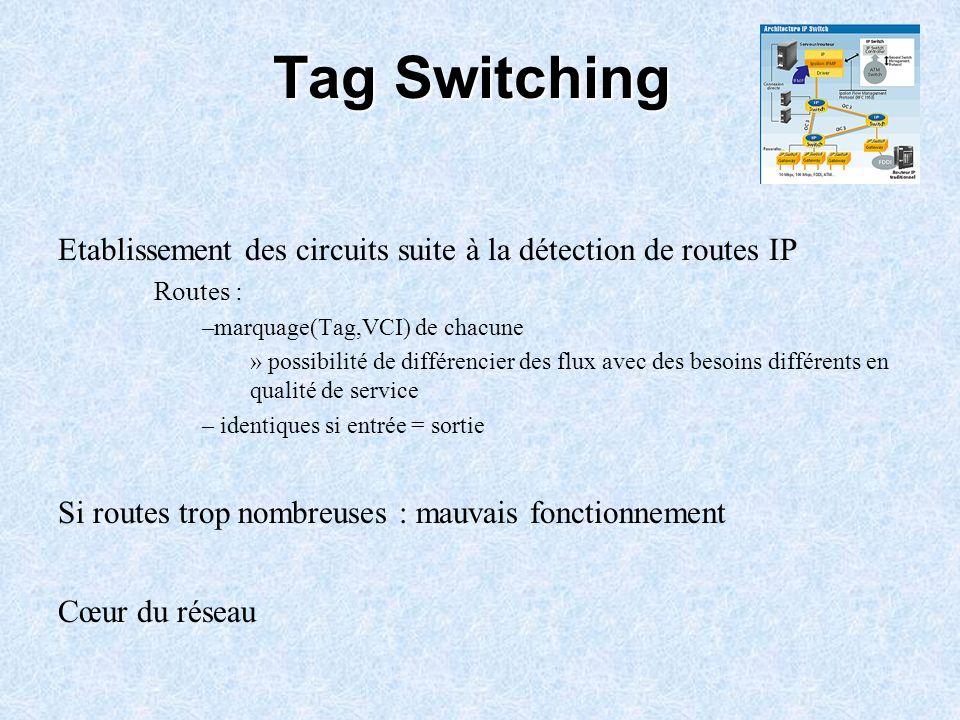 Tag Switching Etablissement des circuits suite à la détection de routes IP Routes : –marquage(Tag,VCI) de chacune » possibilité de différencier des fl
