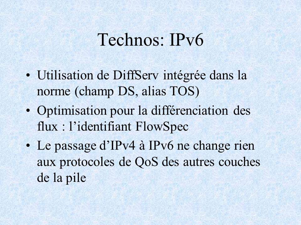 Technos: IPv6 Utilisation de DiffServ intégrée dans la norme (champ DS, alias TOS) Optimisation pour la différenciation des flux : lidentifiant FlowSp