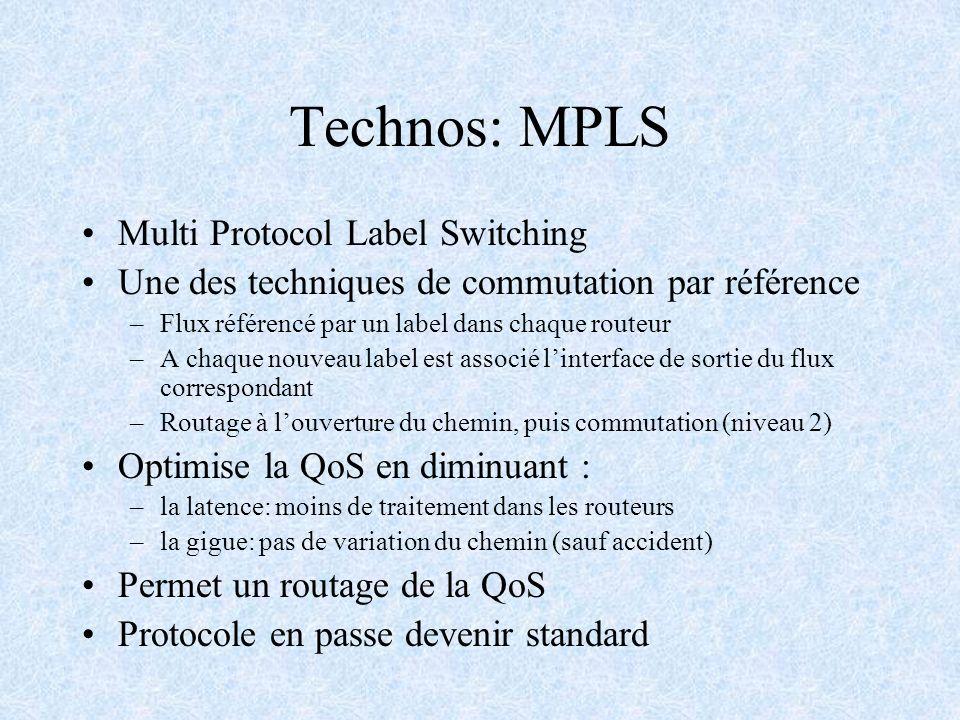 Technos: MPLS Multi Protocol Label Switching Une des techniques de commutation par référence –Flux référencé par un label dans chaque routeur –A chaqu