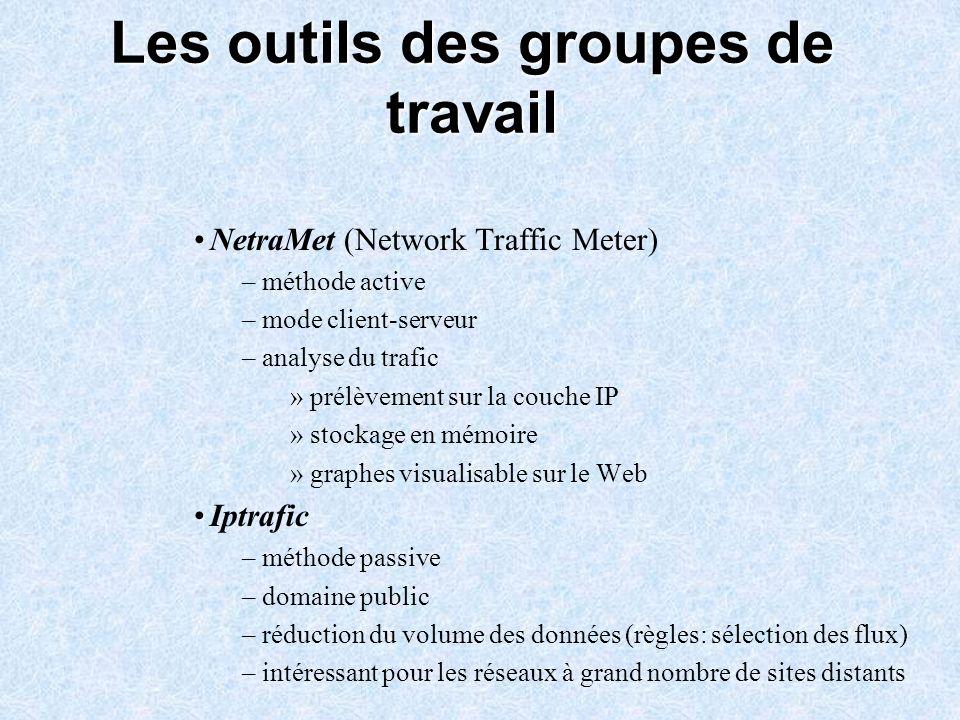 Les outils des groupes de travail NetraMet (Network Traffic Meter) – méthode active – mode client-serveur – analyse du trafic » prélèvement sur la cou