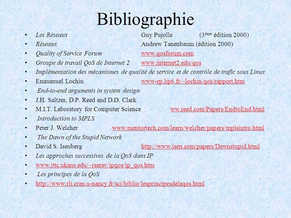 Bibliographie Les RéseauxGuy Pujolle(3 ème édition 2000) RéseauxAndrew Tanenbaum (édition 2000) Quality of Service Forumwww.qosforum.comwww.qosforum.c