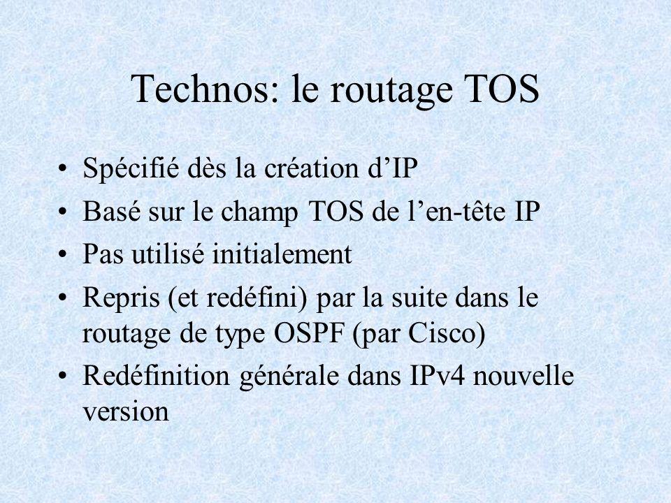 Technos: le routage TOS Spécifié dès la création dIP Basé sur le champ TOS de len-tête IP Pas utilisé initialement Repris (et redéfini) par la suite d