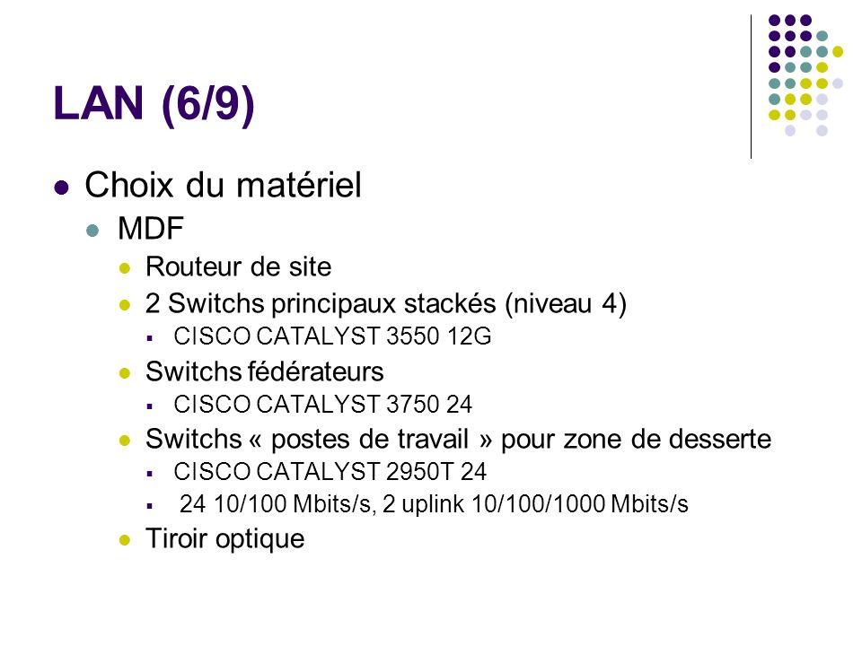 LAN (6/9) Choix du matériel MDF Routeur de site 2 Switchs principaux stackés (niveau 4) CISCO CATALYST 3550 12G Switchs fédérateurs CISCO CATALYST 375