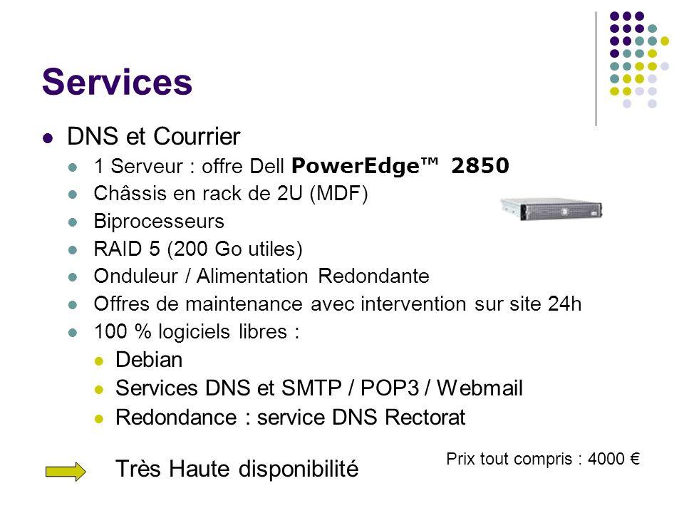 Services DNS et Courrier 1 Serveur : offre Dell PowerEdge 2850 Châssis en rack de 2U (MDF) Biprocesseurs RAID 5 (200 Go utiles) Onduleur / Alimentatio