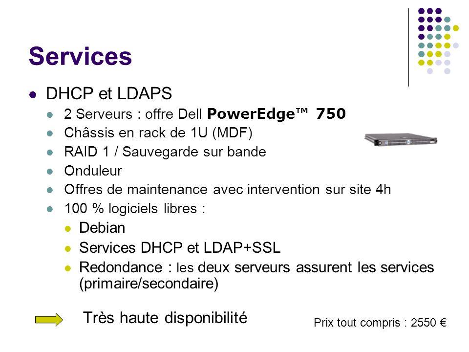 Services DHCP et LDAPS 2 Serveurs : offre Dell PowerEdge 750 Châssis en rack de 1U (MDF) RAID 1 / Sauvegarde sur bande Onduleur Offres de maintenance