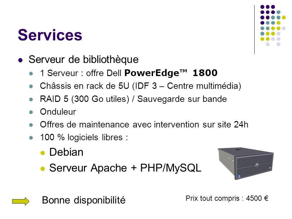 Services Serveur de bibliothèque 1 Serveur : offre Dell PowerEdge 1800 Châssis en rack de 5U (IDF 3 – Centre multimédia) RAID 5 (300 Go utiles) / Sauv