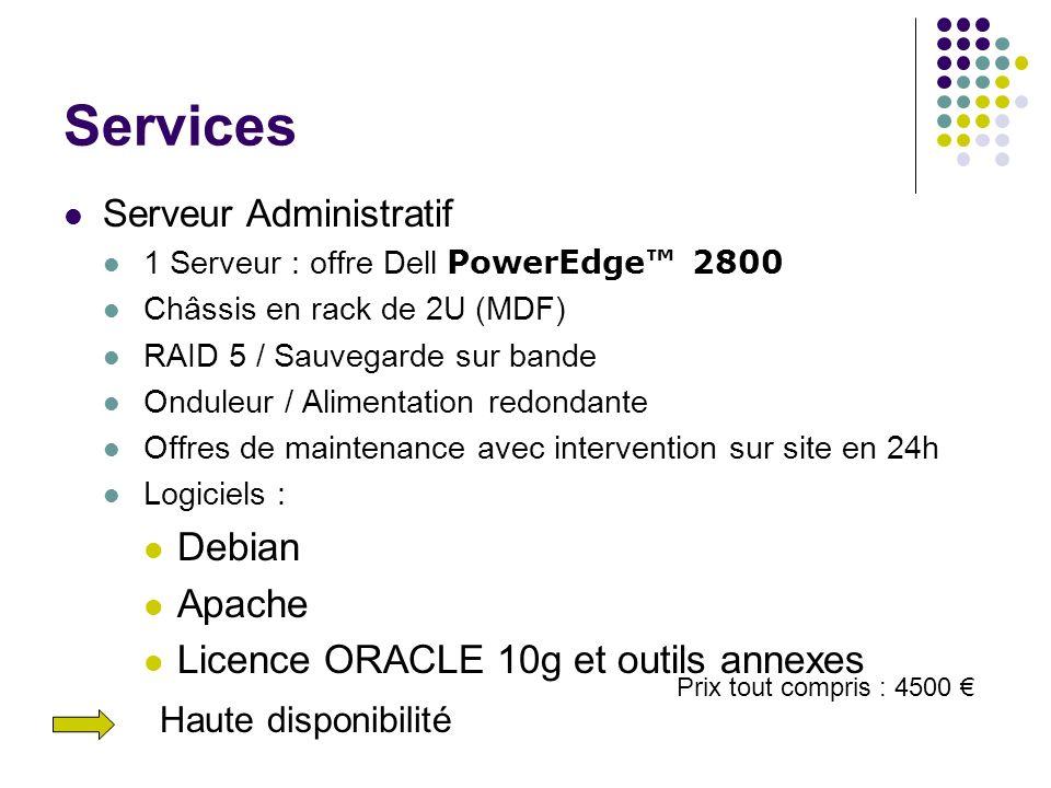 Services Serveur Administratif 1 Serveur : offre Dell PowerEdge 2800 Châssis en rack de 2U (MDF) RAID 5 / Sauvegarde sur bande Onduleur / Alimentation