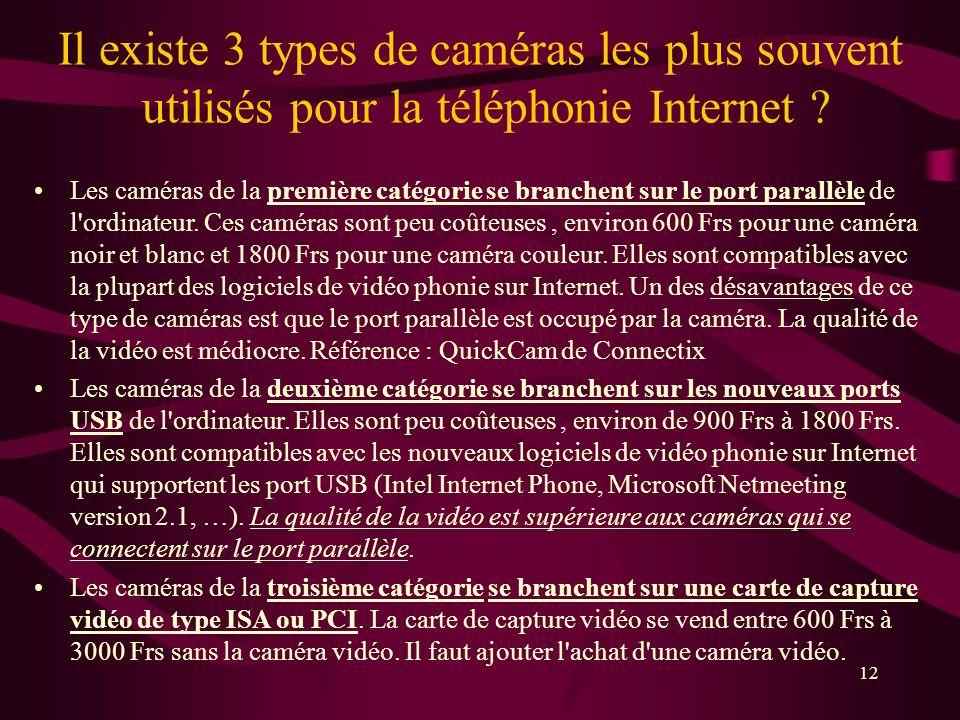 12 Il existe 3 types de caméras les plus souvent utilisés pour la téléphonie Internet .
