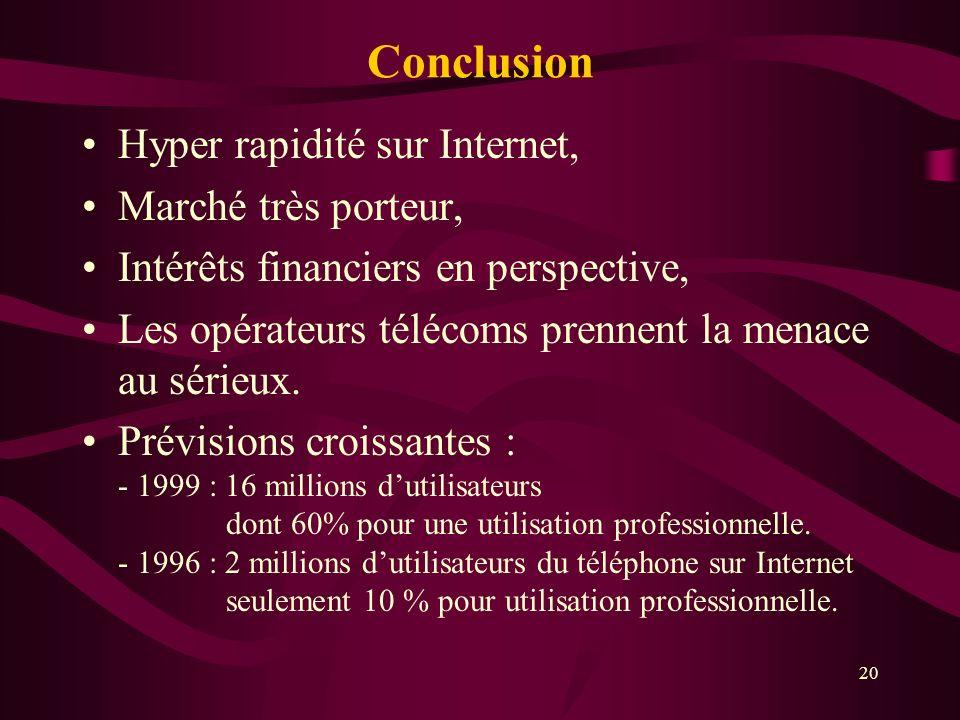 20 Hyper rapidité sur Internet, Marché très porteur, Intérêts financiers en perspective, Les opérateurs télécoms prennent la menace au sérieux.