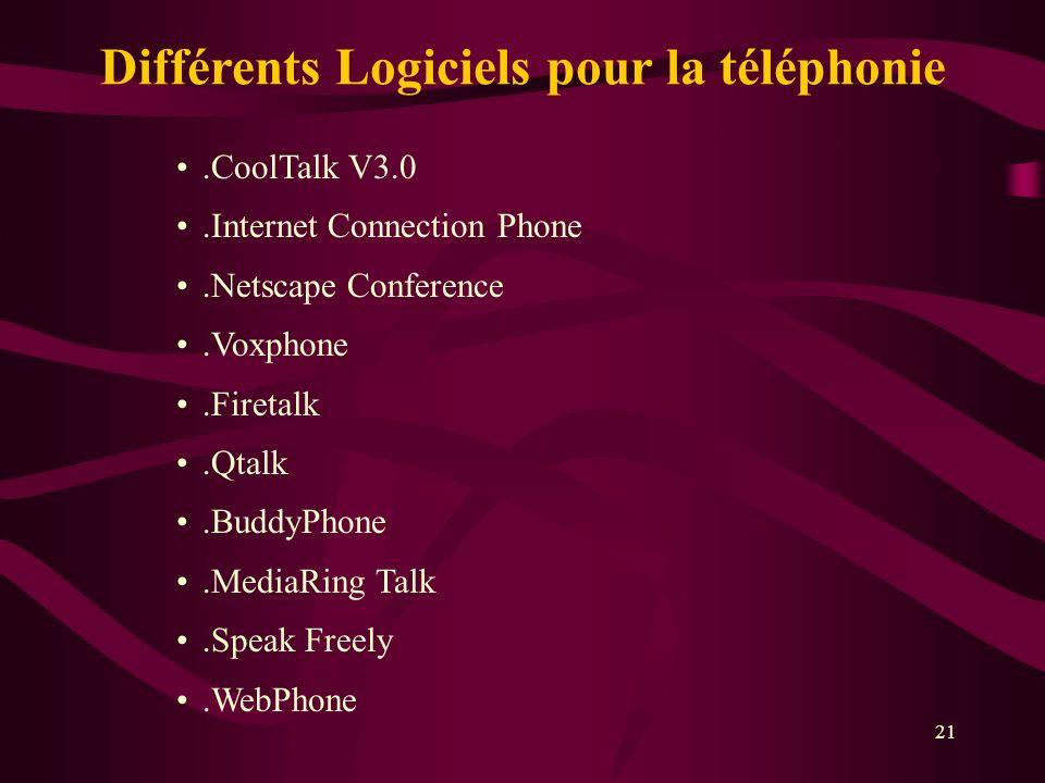 21.CoolTalk V3.0.Internet Connection Phone.Netscape Conference.Voxphone.Firetalk.Qtalk.BuddyPhone.MediaRing Talk.Speak Freely.WebPhone Différents Logiciels pour la téléphonie