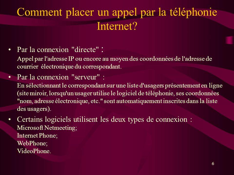 6 Comment placer un appel par la téléphonie Internet.