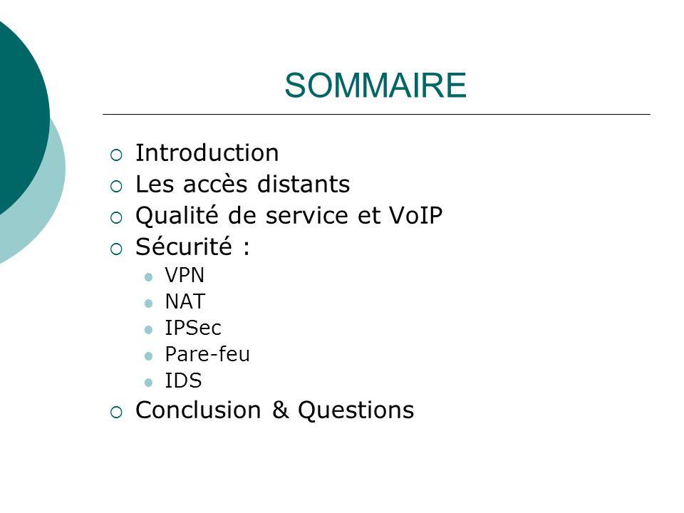 SOMMAIRE Introduction Les accès distants Qualité de service et VoIP Sécurité : VPN NAT IPSec Pare-feu IDS Conclusion & Questions