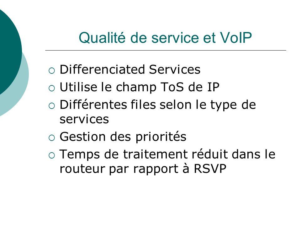 Qualité de service et VoIP Differenciated Services Utilise le champ ToS de IP Différentes files selon le type de services Gestion des priorités Temps