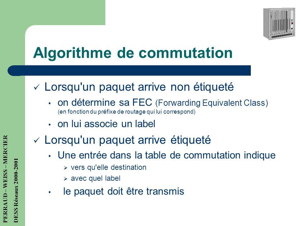 Routeur MPLS Informations: 2 tables au lieu de 1 seule: – Routage: algos classiques (RIP, OSPF, BGP...) – Commutation: permet un aiguillage des paquet