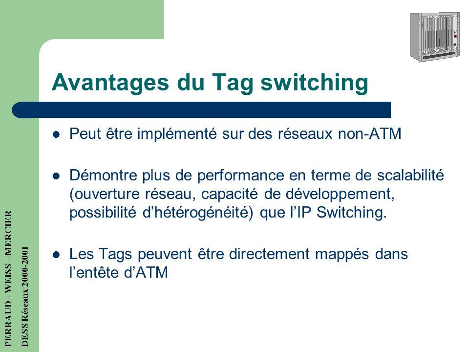 Avantages du Tag switching Peut être implémenté sur des réseaux non-ATM Démontre plus de performance en terme de scalabilité (ouverture réseau, capacité de développement, possibilité dhétérogénéité) que lIP Switching.