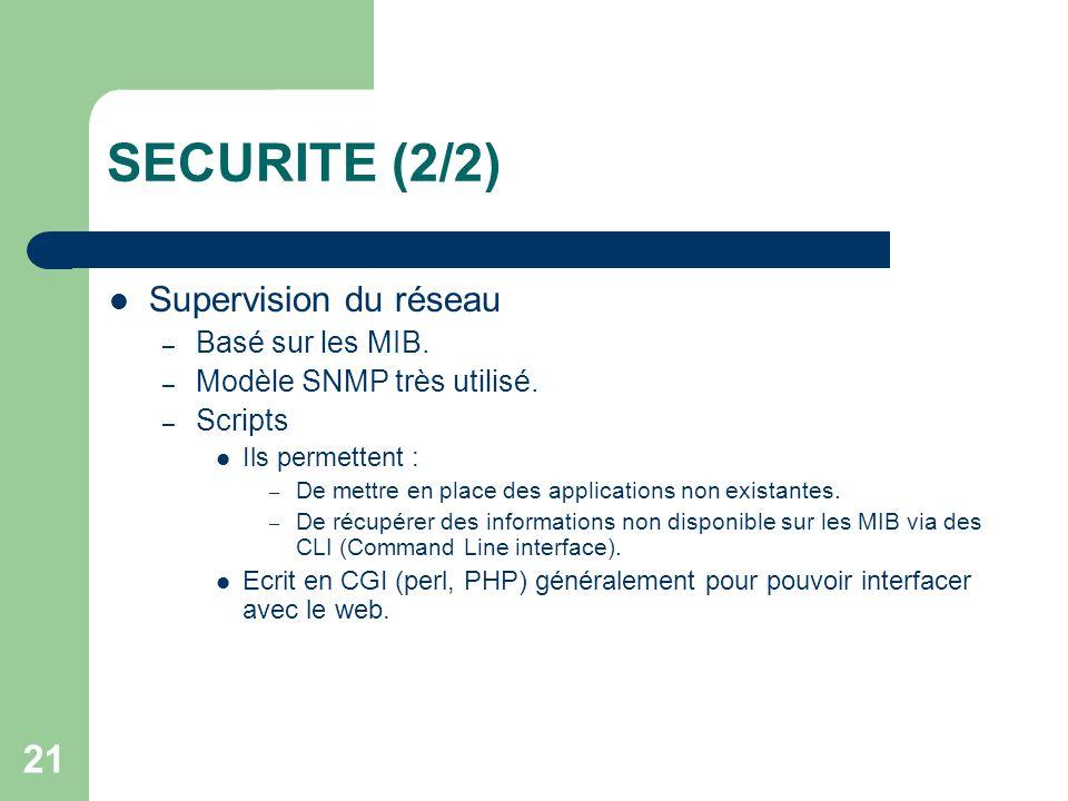 21 SECURITE (2/2) Supervision du réseau – Basé sur les MIB. – Modèle SNMP très utilisé. – Scripts Ils permettent : – De mettre en place des applicatio