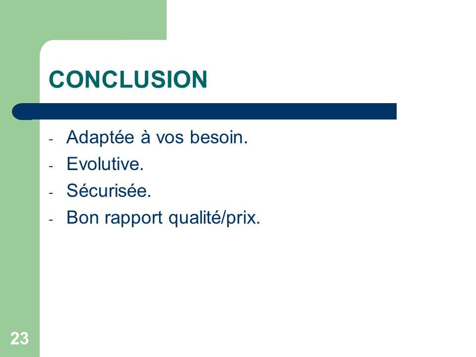 23 CONCLUSION - Adaptée à vos besoin. - Evolutive. - Sécurisée. - Bon rapport qualité/prix.