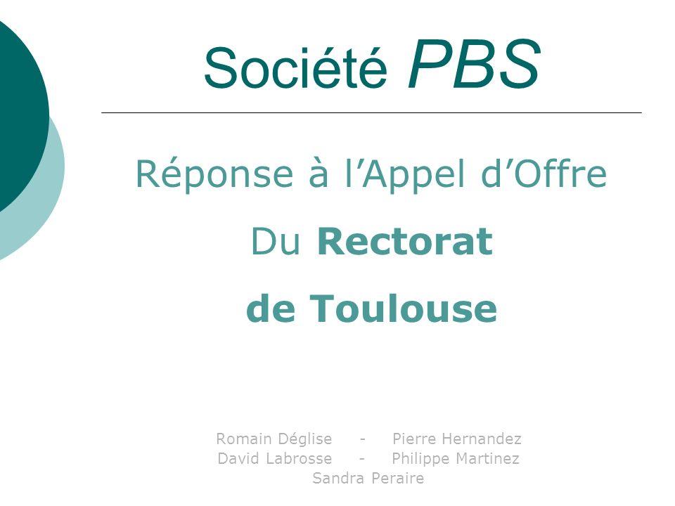 Société PBS Romain Déglise - Pierre Hernandez David Labrosse - Philippe Martinez Sandra Peraire Réponse à lAppel dOffre Du Rectorat de Toulouse