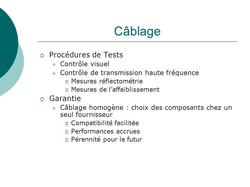 Câblage Procédures de Tests Contrôle visuel Contrôle de transmission haute fréquence Mesures réflectométrie Mesures de laffaiblissement Garantie Câbla