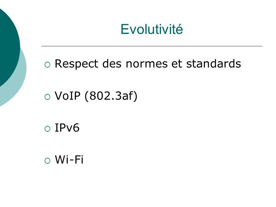 Evolutivité Respect des normes et standards VoIP (802.3af) IPv6 Wi-Fi