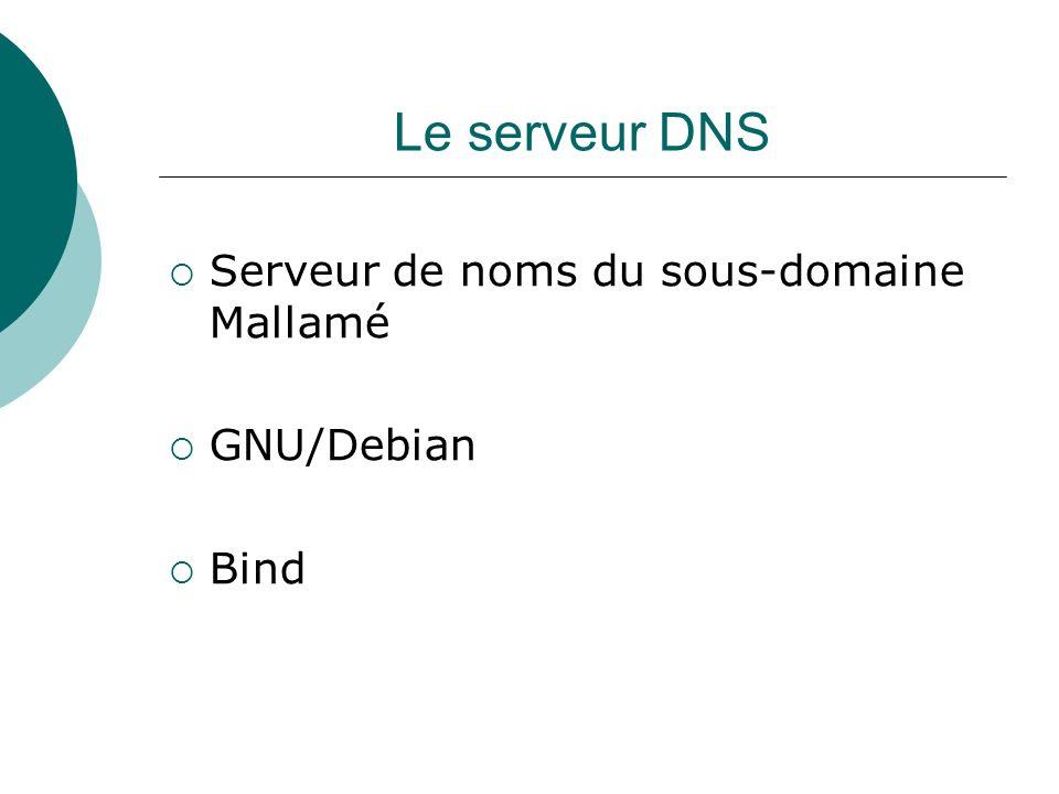 Le serveur DNS Serveur de noms du sous-domaine Mallamé GNU/Debian Bind