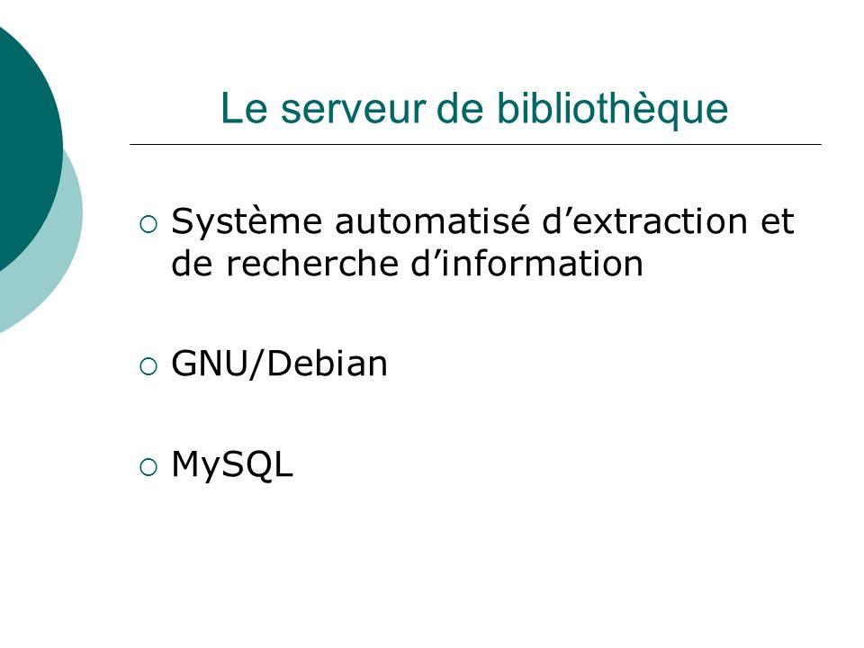 Le serveur de bibliothèque Système automatisé dextraction et de recherche dinformation GNU/Debian MySQL