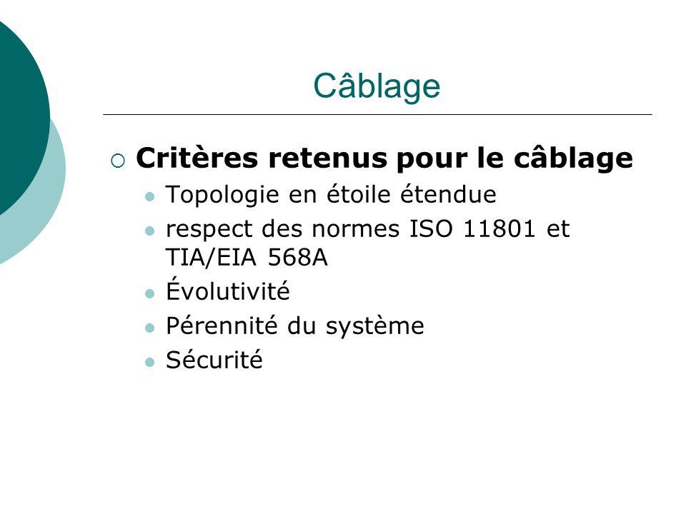 Câblage Critères retenus pour le câblage Topologie en étoile étendue respect des normes ISO 11801 et TIA/EIA 568A Évolutivité Pérennité du système Séc