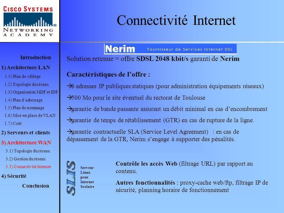 Connectivité Internet Serveur Linux pour Internet Scolaire Solution retenue = offre SDSL 2048 kbit/s garanti de Nerim Caractéristiques de loffre : 8 a