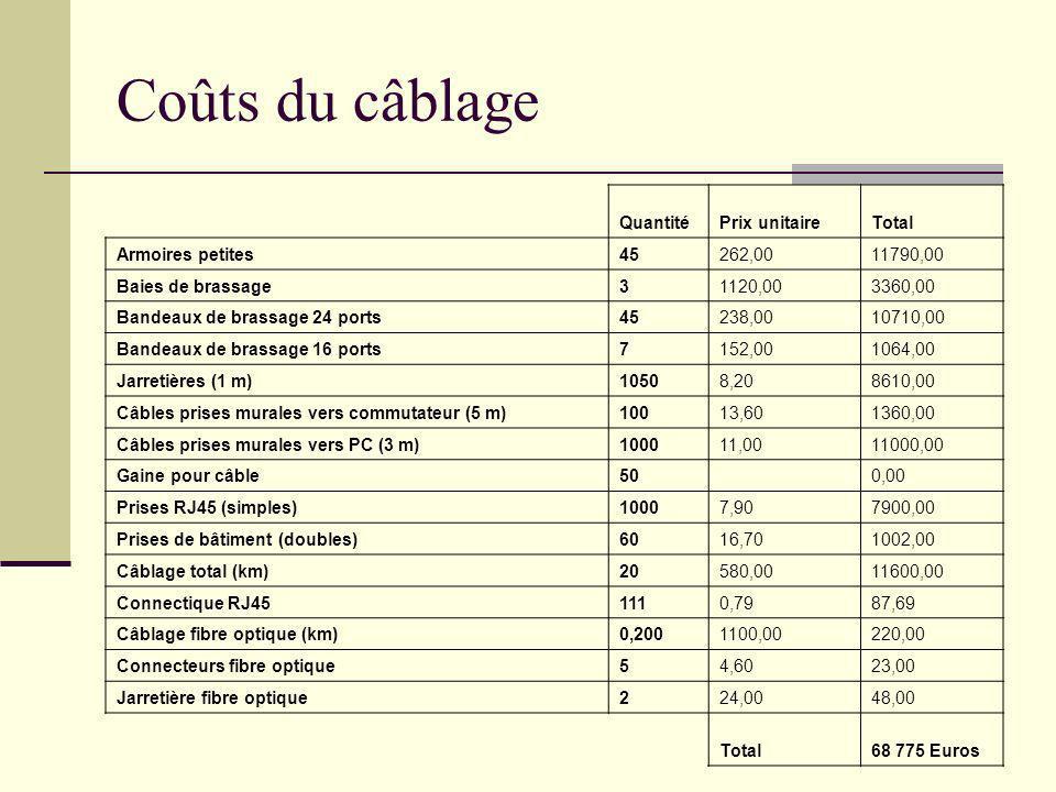 Coûts du câblage QuantitéPrix unitaireTotal Armoires petites45262,0011790,00 Baies de brassage31120,003360,00 Bandeaux de brassage 24 ports45238,00107
