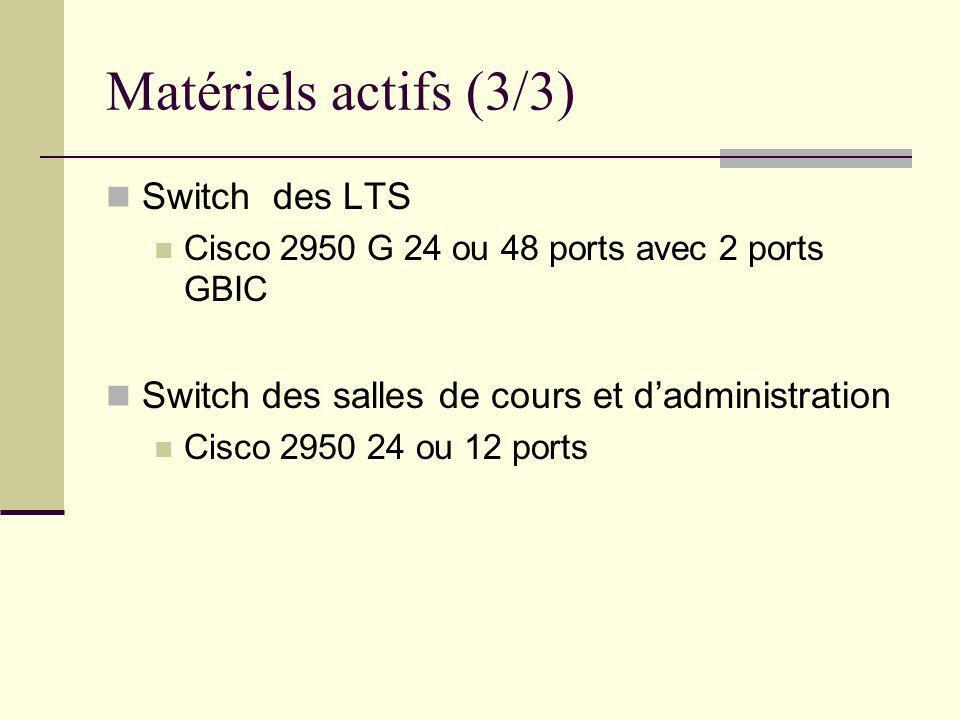 Matériels actifs (3/3) Switch des LTS Cisco 2950 G 24 ou 48 ports avec 2 ports GBIC Switch des salles de cours et dadministration Cisco 2950 24 ou 12
