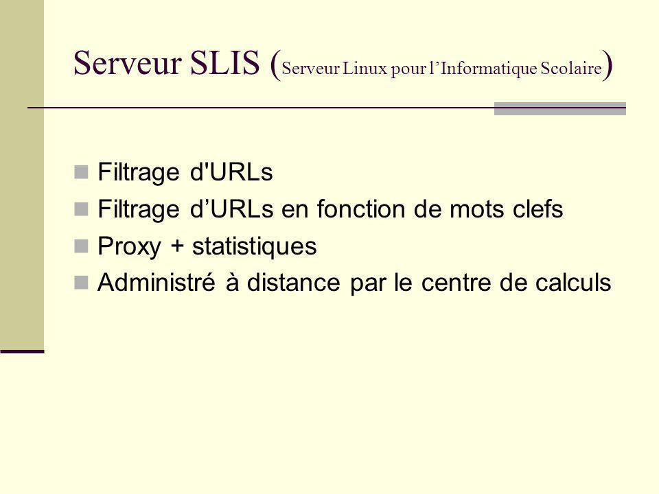 Serveur SLIS ( Serveur Linux pour lInformatique Scolaire ) Filtrage d'URLs Filtrage dURLs en fonction de mots clefs Proxy + statistiques Administré à