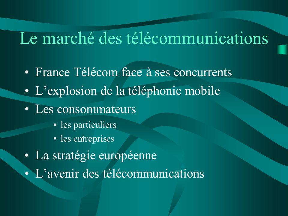 Le marché des télécommunications France Télécom face à ses concurrents Lexplosion de la téléphonie mobile Les consommateurs les particuliers les entre