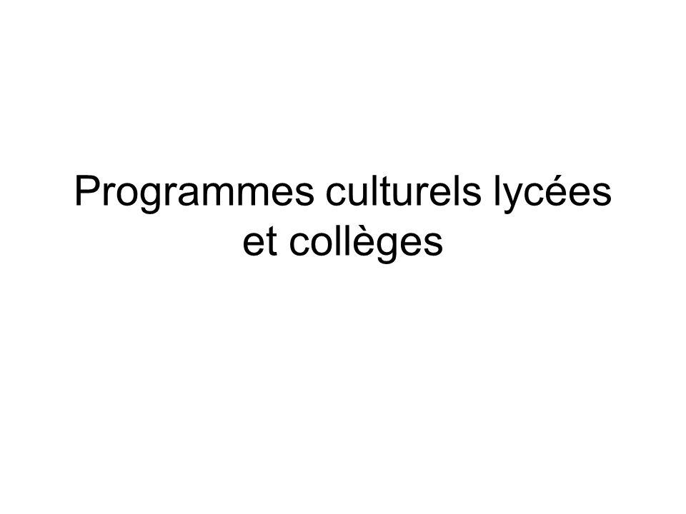 Programmes culturels lycées et collèges