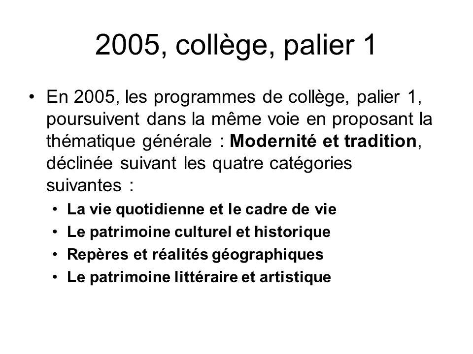 2005, collège, palier 1 En 2005, les programmes de collège, palier 1, poursuivent dans la même voie en proposant la thématique générale : Modernité et
