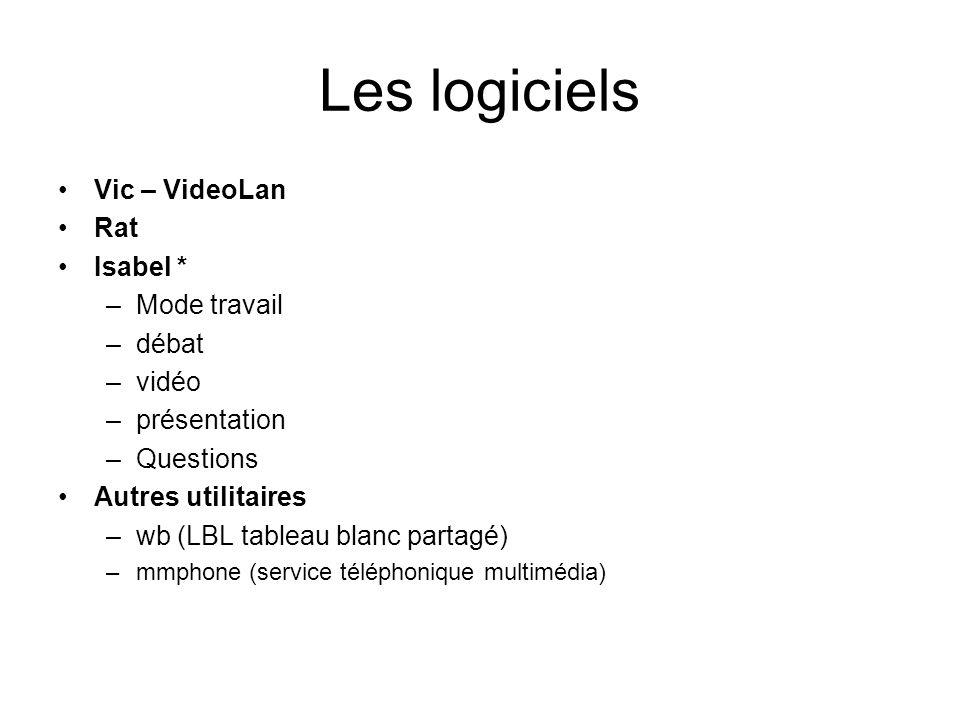 Les logiciels Vic – VideoLan Rat Isabel * –Mode travail –débat –vidéo –présentation –Questions Autres utilitaires –wb (LBL tableau blanc partagé) –mmp