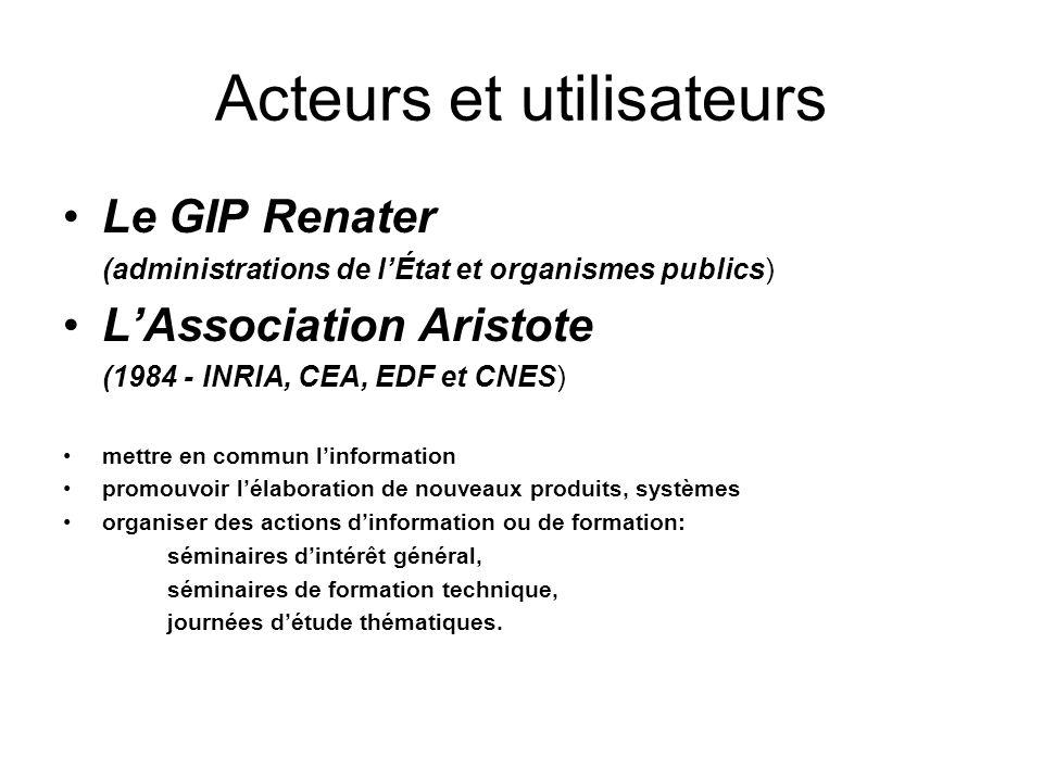 Acteurs et utilisateurs Le GIP Renater (administrations de lÉtat et organismes publics) LAssociation Aristote (1984 - INRIA, CEA, EDF et CNES) mettre