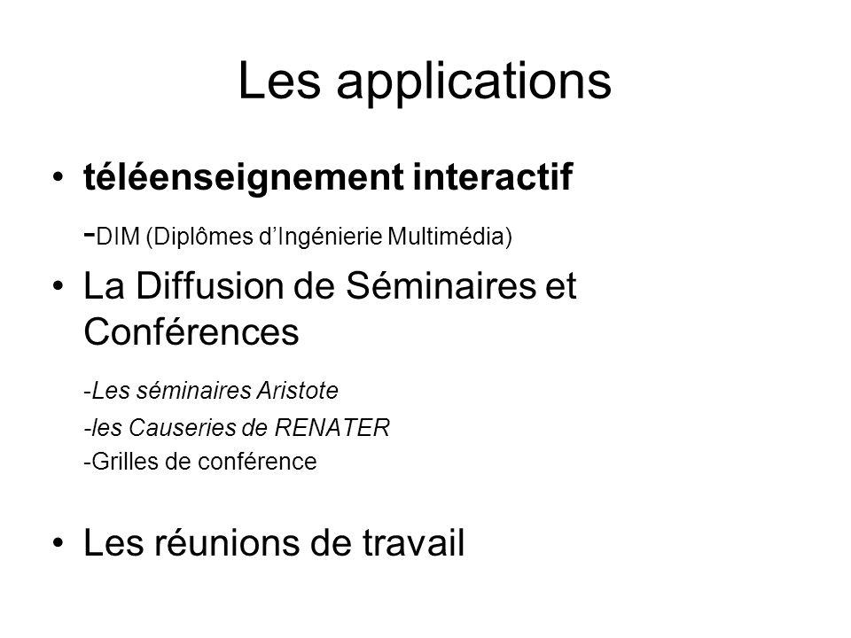 Les applications téléenseignement interactif - DIM (Diplômes dIngénierie Multimédia) La Diffusion de Séminaires et Conférences -Les séminaires Aristot