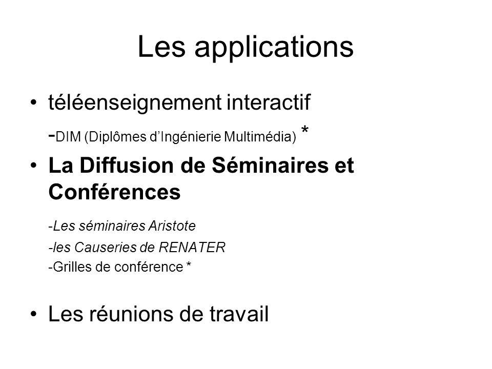 Les applications téléenseignement interactif - DIM (Diplômes dIngénierie Multimédia) * La Diffusion de Séminaires et Conférences -Les séminaires Arist