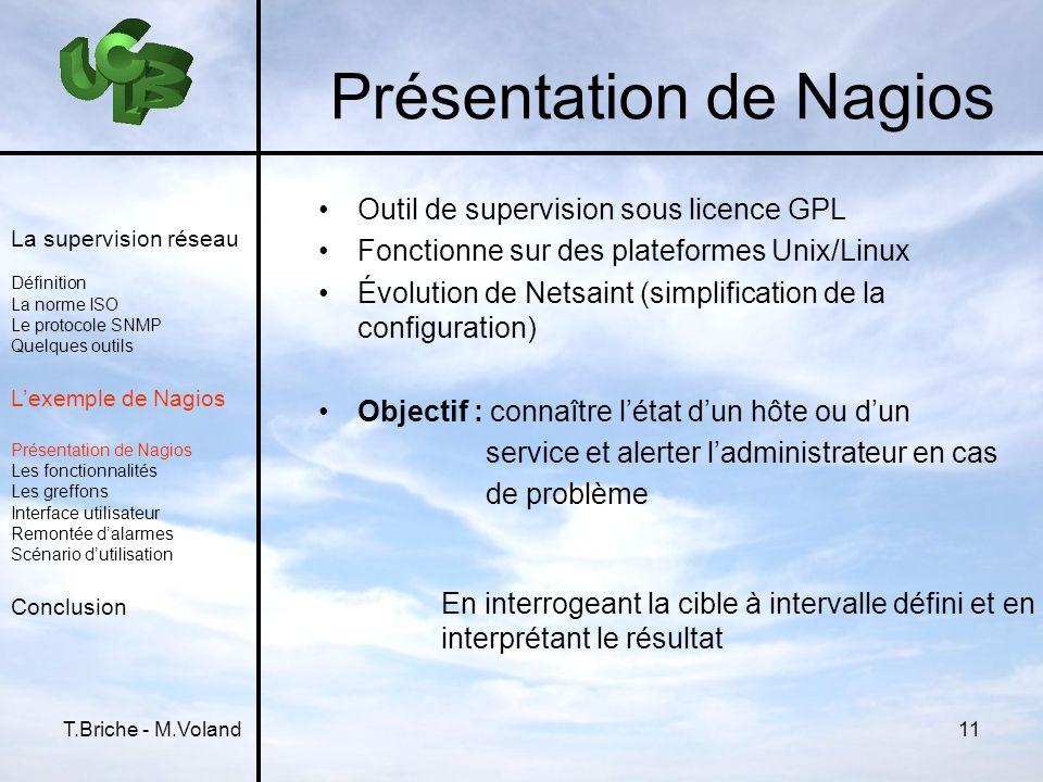 T.Briche - M.Voland11 La supervision réseau Définition La norme ISO Le protocole SNMP Quelques outils Lexemple de Nagios Présentation de Nagios Les fo