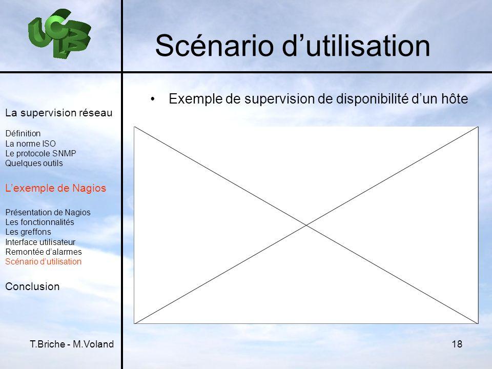 T.Briche - M.Voland18 Scénario dutilisation Exemple de supervision de disponibilité dun hôte La supervision réseau Définition La norme ISO Le protocol