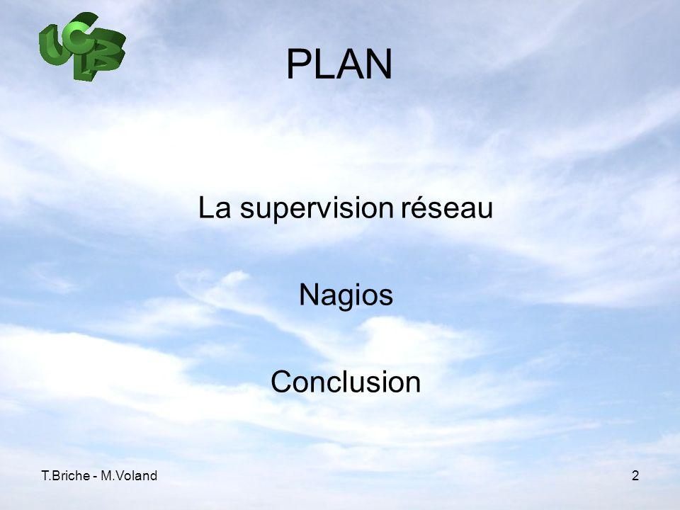 T.Briche - M.Voland2 PLAN La supervision réseau Nagios Conclusion