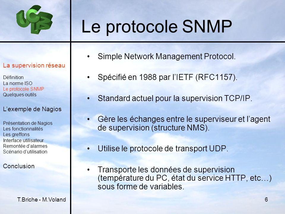 T.Briche - M.Voland6 Le protocole SNMP Simple Network Management Protocol. Spécifié en 1988 par lIETF (RFC1157). Standard actuel pour la supervision T