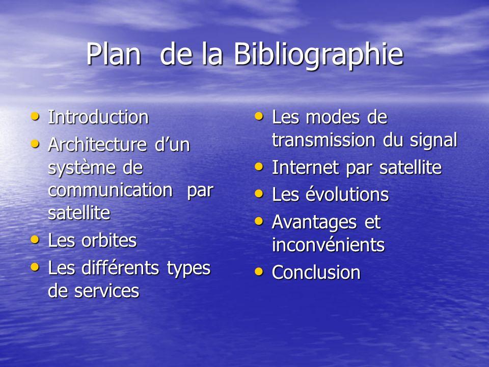Plan de la Bibliographie Introduction Introduction Architecture dun système de communication par satellite Architecture dun système de communication p