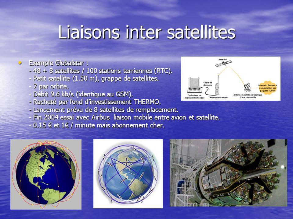 Liaisons inter satellites Exemple Globalstar : Exemple Globalstar : - 48 + 8 satellites / 100 stations terriennes (RTC). - Petit satellite (1.50 m), g