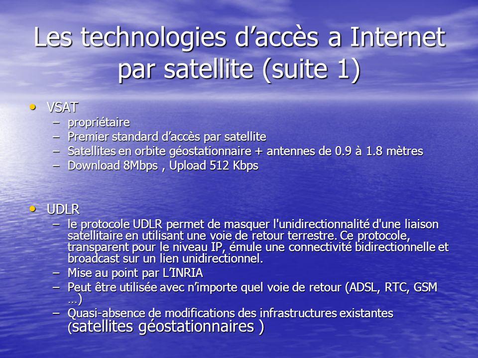 Les technologies daccès a Internet par satellite (suite 1) VSAT VSAT –propriétaire –Premier standard daccès par satellite –Satellites en orbite géosta