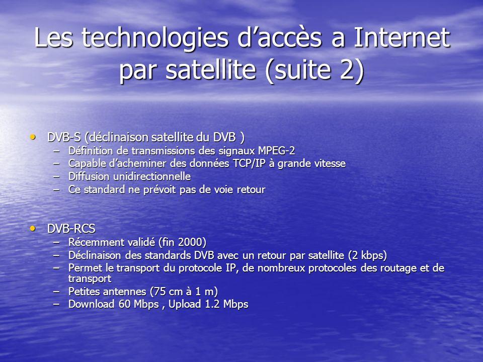 Les technologies daccès a Internet par satellite (suite 2) DVB-S (déclinaison satellite du DVB ) DVB-S (déclinaison satellite du DVB ) –Définition de